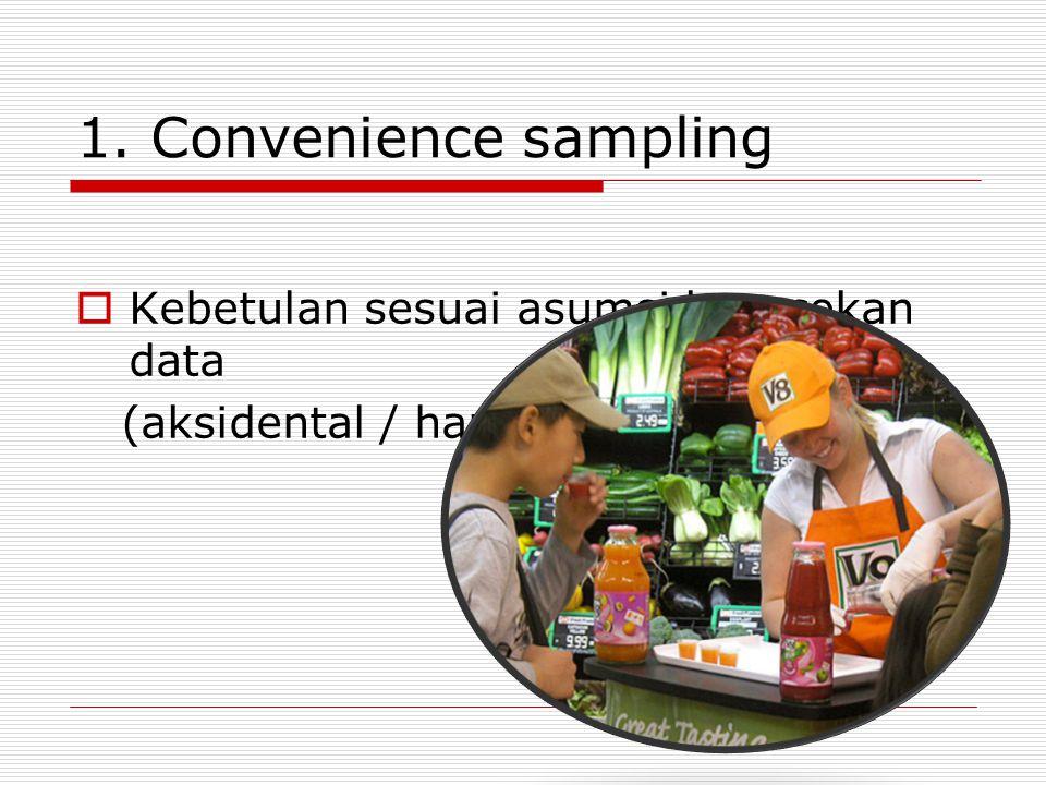 1. Convenience sampling Kebetulan sesuai asumsi kecocokan data