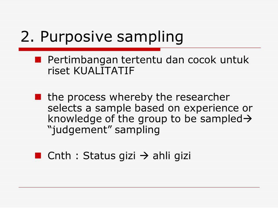 2. Purposive sampling Pertimbangan tertentu dan cocok untuk riset KUALITATIF.