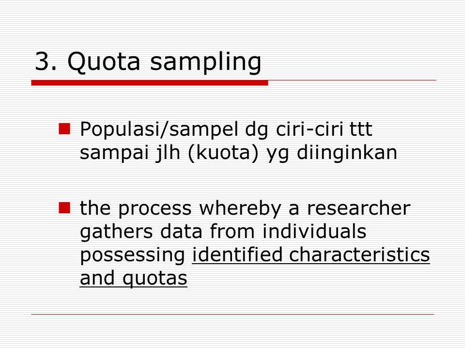 3. Quota sampling Populasi/sampel dg ciri-ciri ttt sampai jlh (kuota) yg diinginkan.