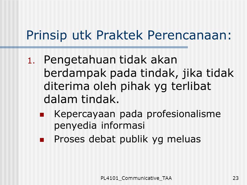 Prinsip utk Praktek Perencanaan: