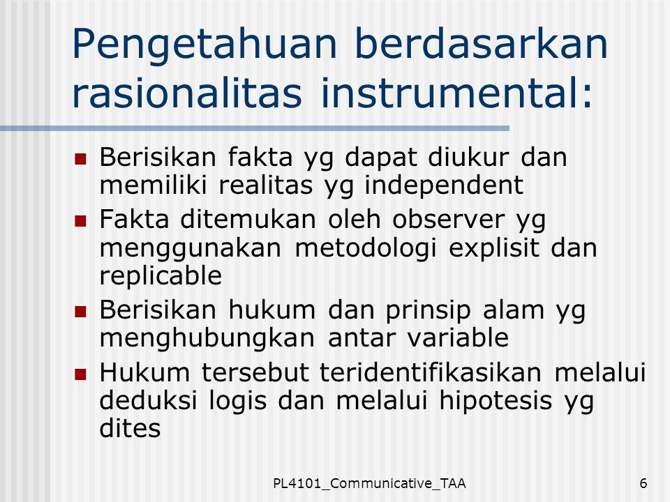 Pengetahuan berdasarkan rasionalitas instrumental: