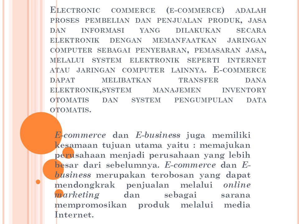 Electronic commerce (e-commerce) adalah proses pembelian dan penjualan produk, jasa dan informasi yang dilakukan secara elektronik dengan memanfaatkan jaringan computer sebagai penyebaran, pemasaran jasa, melalui system elektronik seperti internet atau jaringan computer lainnya. E-commerce dapat melibatkan transfer dana elektronik,system manajemen inventory otomatis dan system pengumpulan data otomatis.
