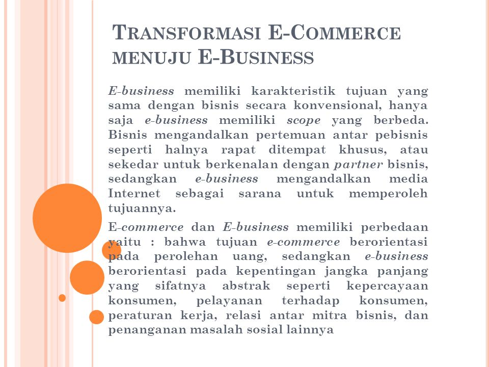Transformasi E-Commerce menuju E-Business