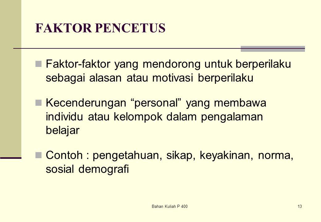 FAKTOR PENCETUS Faktor-faktor yang mendorong untuk berperilaku sebagai alasan atau motivasi berperilaku.