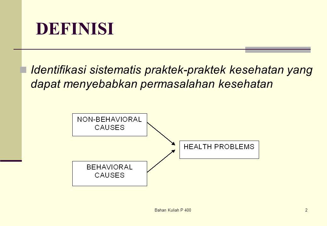 DEFINISI Identifikasi sistematis praktek-praktek kesehatan yang dapat menyebabkan permasalahan kesehatan.