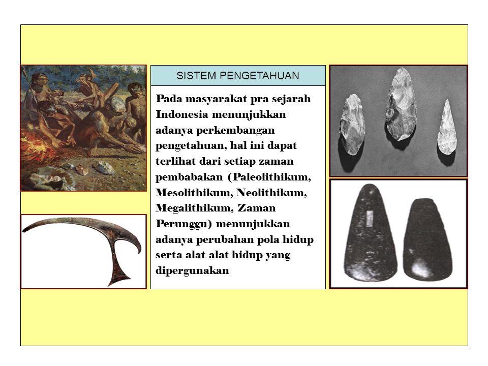 SISTEM PENGETAHUAN Pada masyarakat pra sejarah. Indonesia menunjukkan. adanya perkembangan. pengetahuan, hal ini dapat.