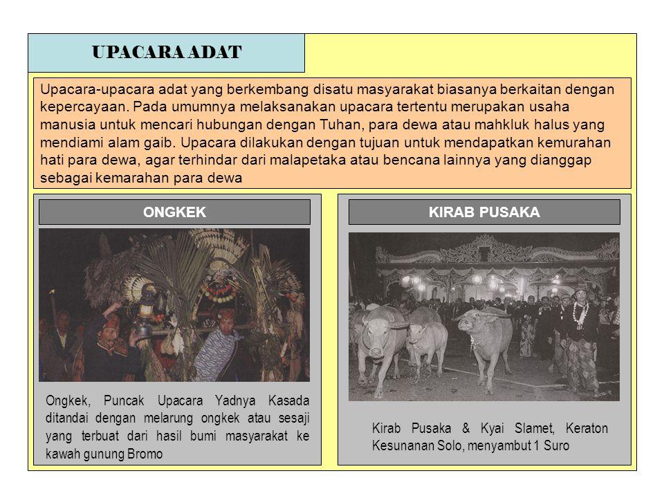 UPACARA ADAT Upacara-upacara adat yang berkembang disatu masyarakat biasanya berkaitan dengan.