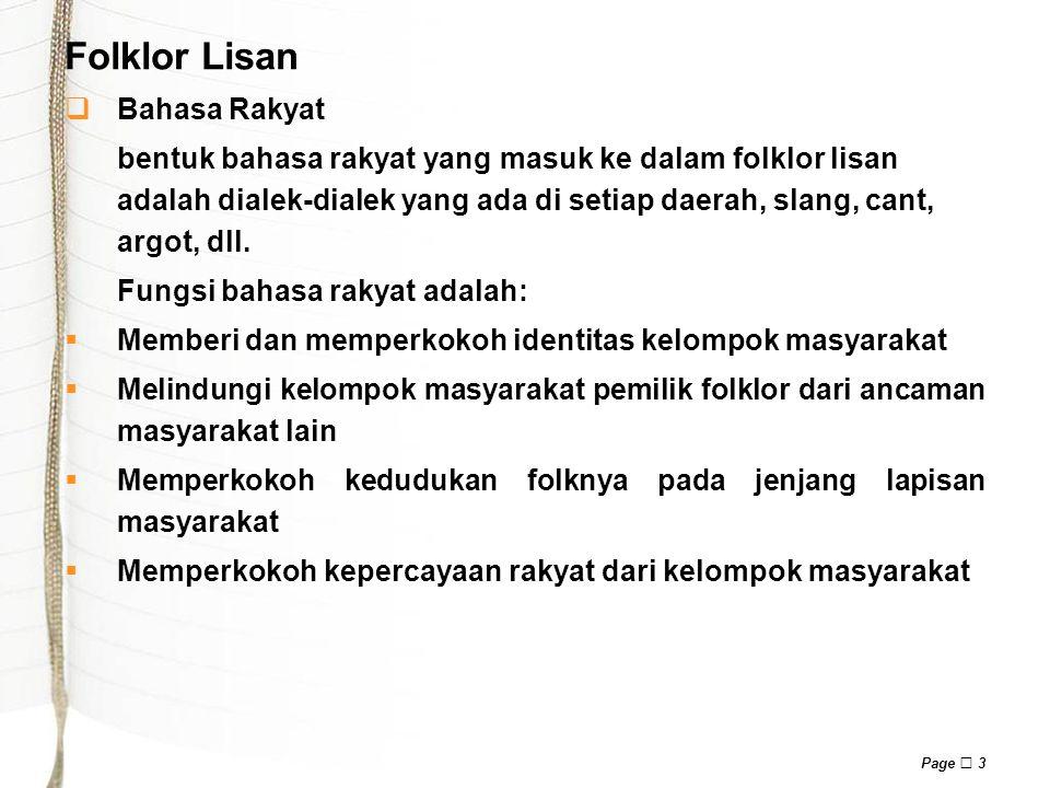 Folklor Lisan Bahasa Rakyat