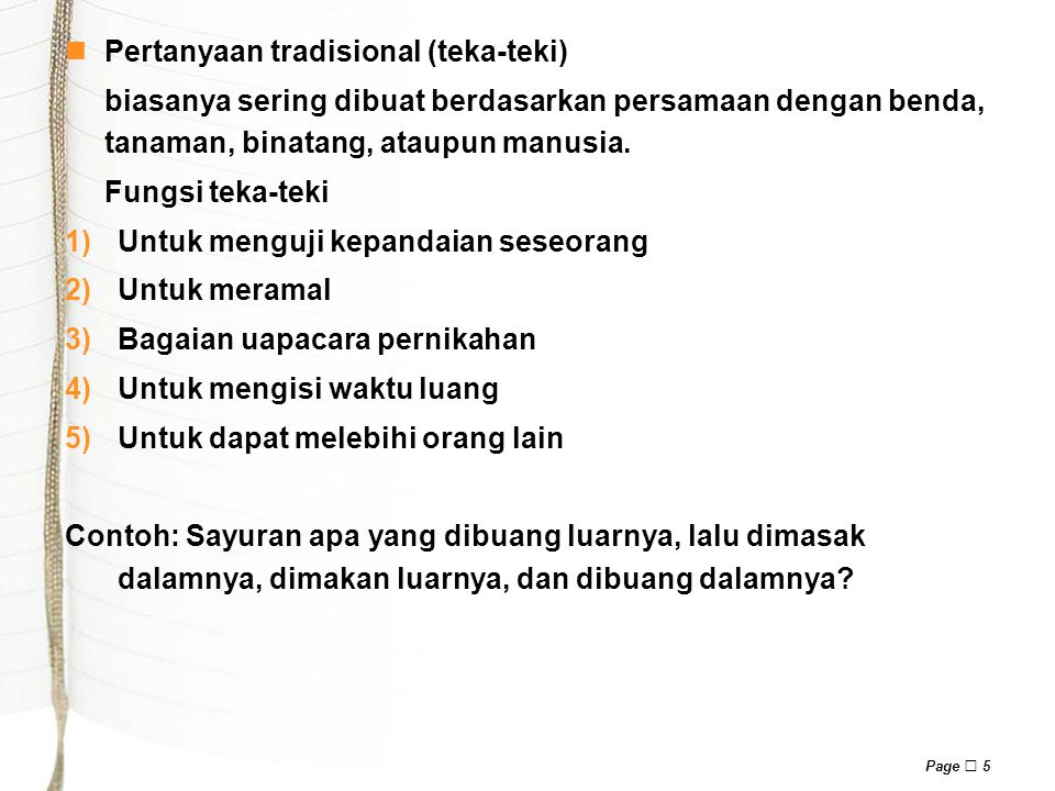 Pertanyaan tradisional (teka-teki)