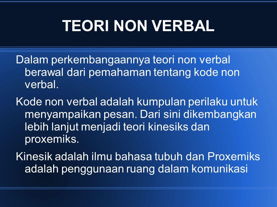 TEORI NON VERBAL Dalam perkembangaannya teori non verbal berawal dari pemahaman tentang kode non verbal.