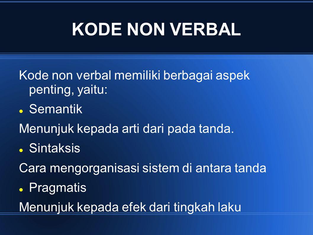 KODE NON VERBAL Kode non verbal memiliki berbagai aspek penting, yaitu: Semantik. Menunjuk kepada arti dari pada tanda.