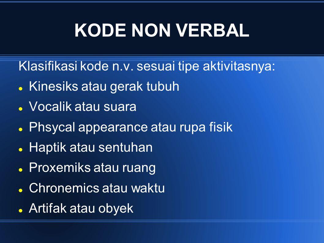 KODE NON VERBAL Klasifikasi kode n.v. sesuai tipe aktivitasnya: