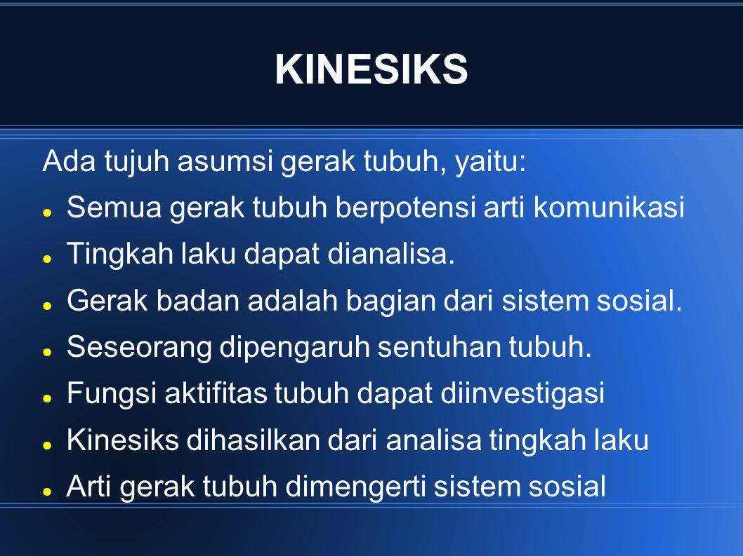 KINESIKS Ada tujuh asumsi gerak tubuh, yaitu: