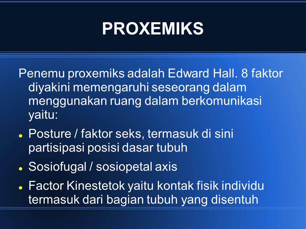 PROXEMIKS Penemu proxemiks adalah Edward Hall. 8 faktor diyakini memengaruhi seseorang dalam menggunakan ruang dalam berkomunikasi yaitu: