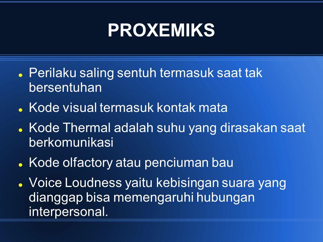 PROXEMIKS Perilaku saling sentuh termasuk saat tak bersentuhan