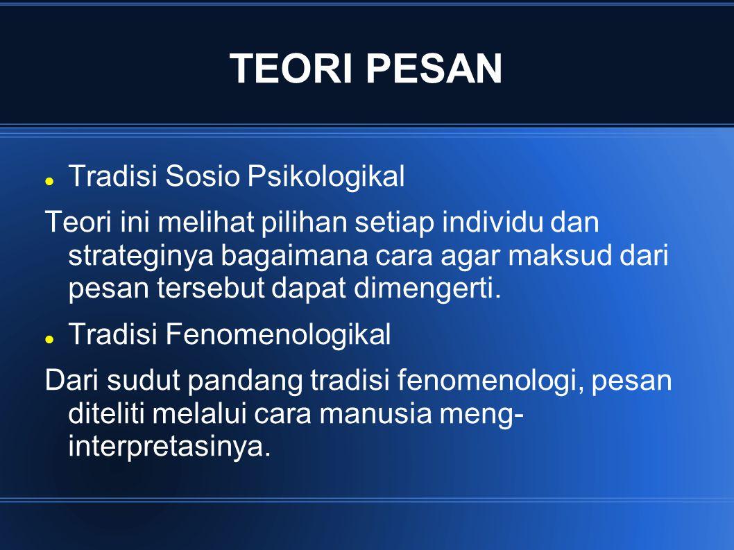 TEORI PESAN Tradisi Sosio Psikologikal