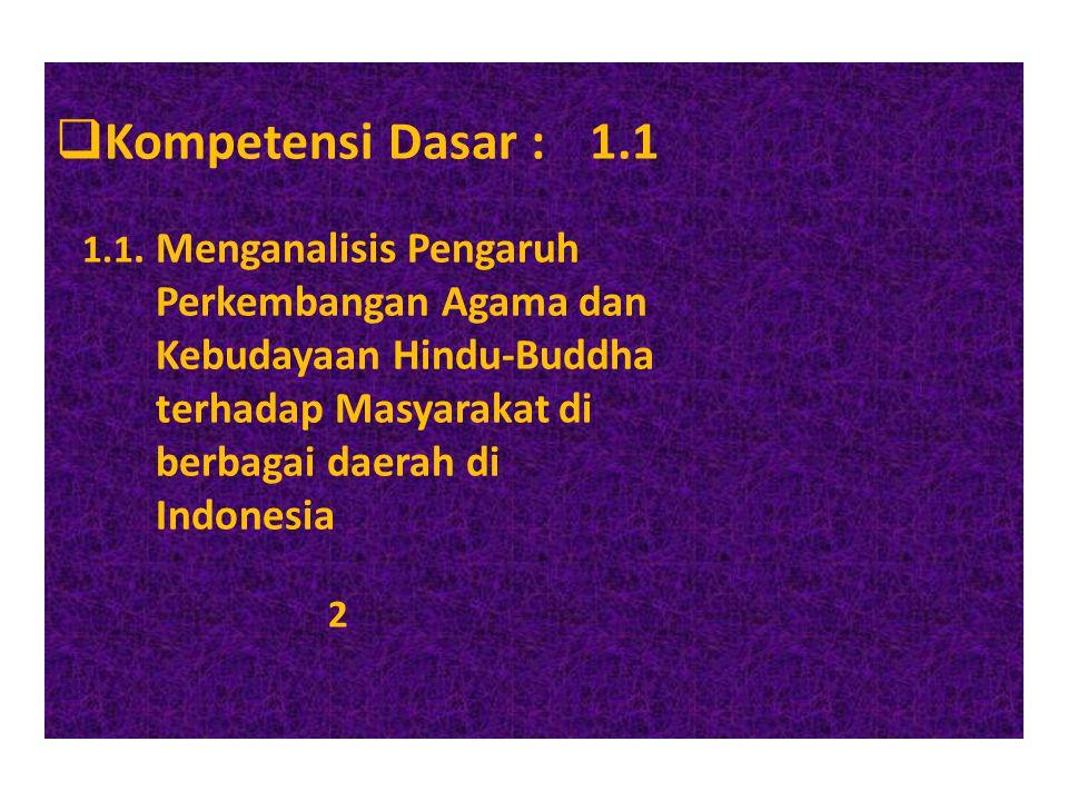 Kompetensi Dasar : 1.1 Perkembangan Agama dan Kebudayaan Hindu-Buddha