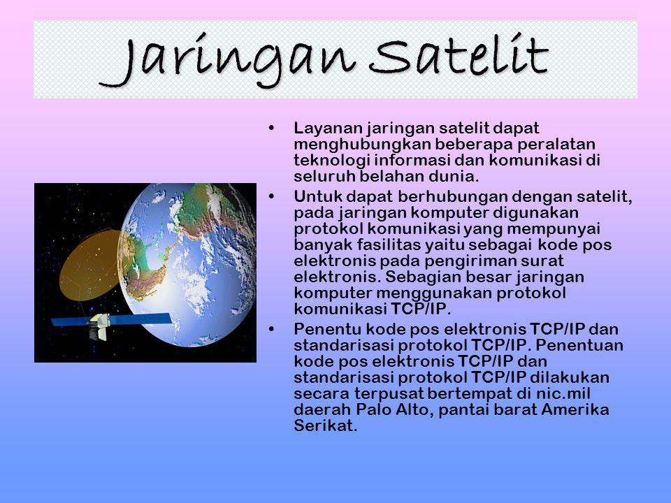 Jaringan Satelit Layanan jaringan satelit dapat menghubungkan beberapa peralatan teknologi informasi dan komunikasi di seluruh belahan dunia.