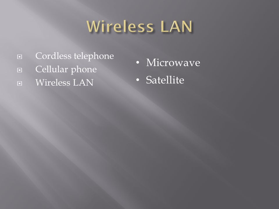 Wireless LAN Microwave Satellite Cordless telephone Cellular phone