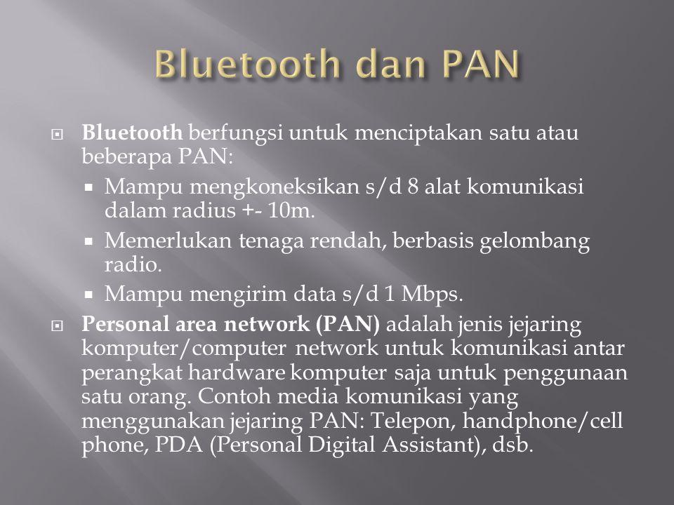 Bluetooth dan PAN Bluetooth berfungsi untuk menciptakan satu atau beberapa PAN: Mampu mengkoneksikan s/d 8 alat komunikasi dalam radius +- 10m.