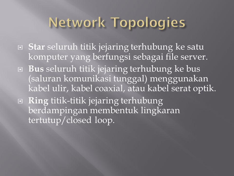 Network Topologies Star seluruh titik jejaring terhubung ke satu komputer yang berfungsi sebagai file server.