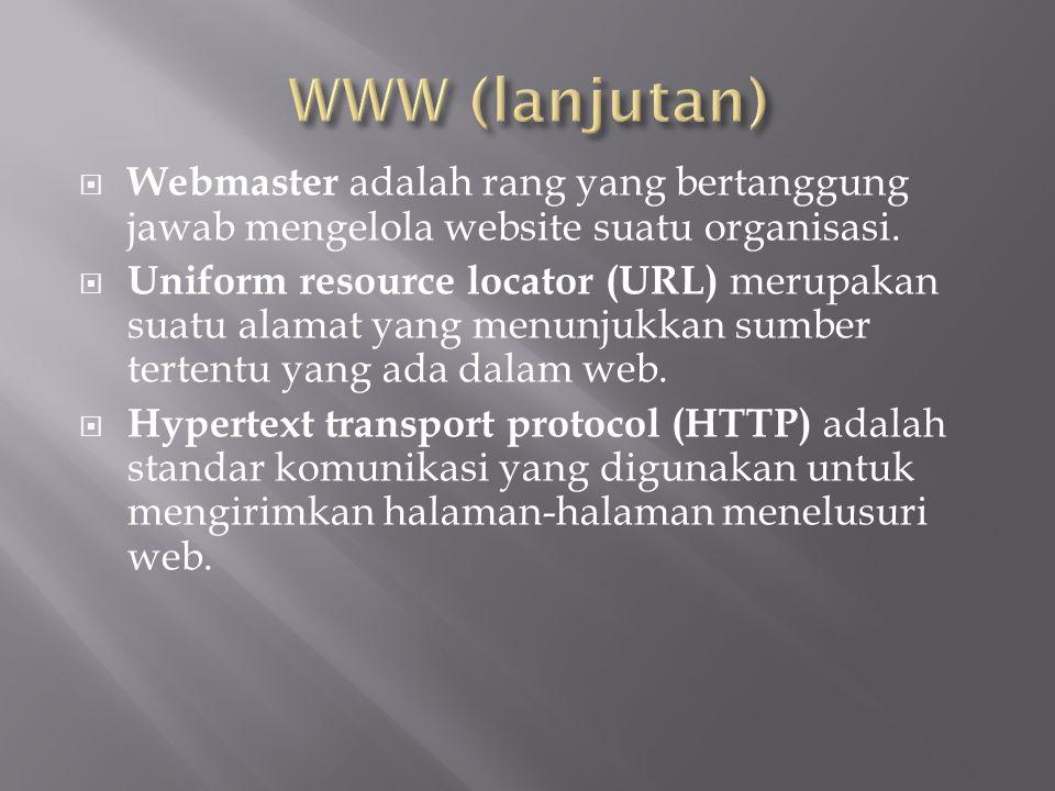 WWW (lanjutan) Webmaster adalah rang yang bertanggung jawab mengelola website suatu organisasi.