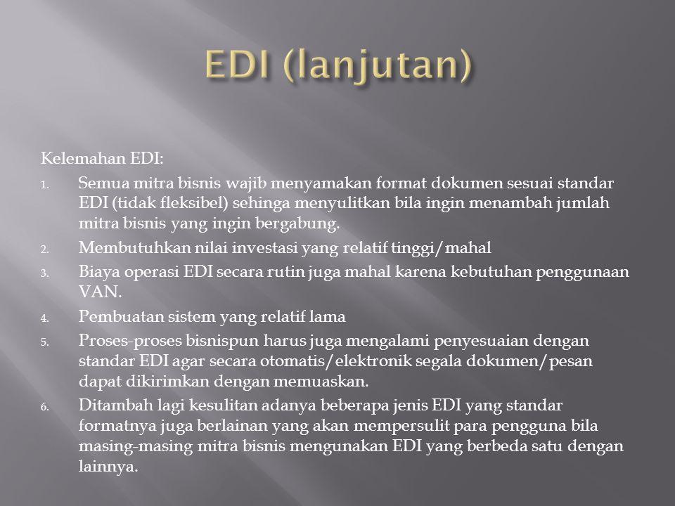EDI (lanjutan) Kelemahan EDI: