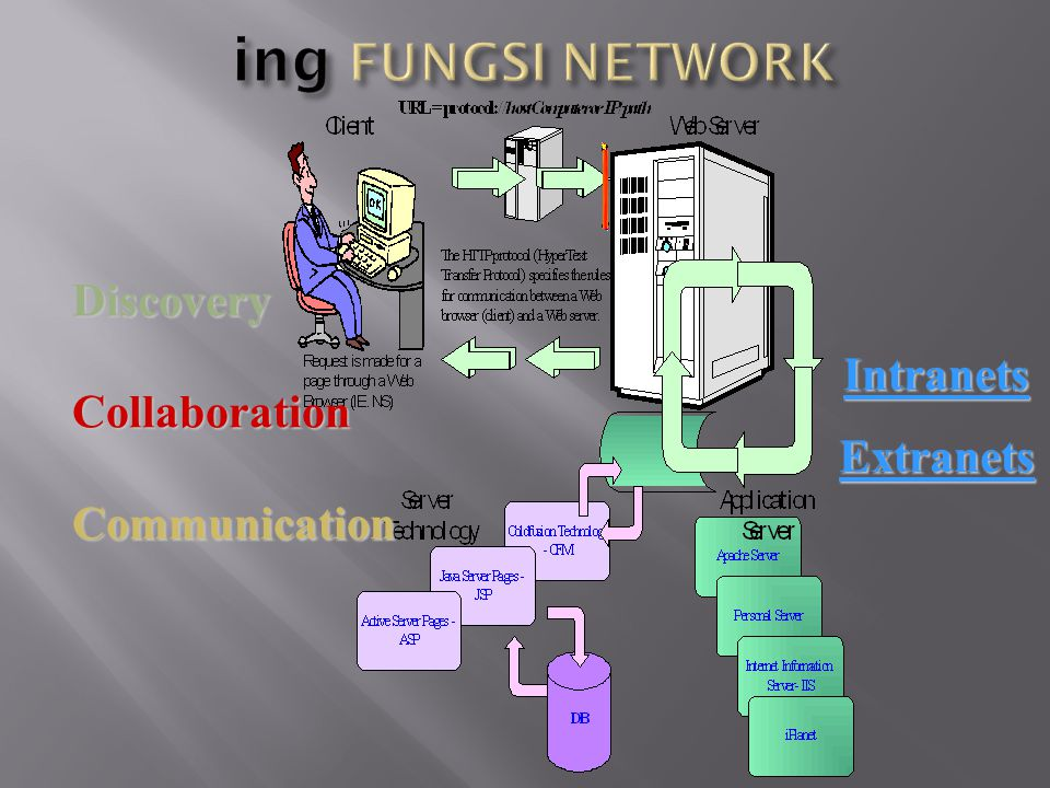ing FUNGSI NETWORK Discovery Intranets Collaboration Extranets