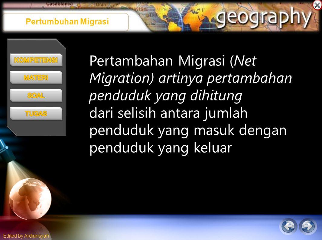 Pertumbuhan Migrasi Pertambahan Migrasi (Net Migration) artinya pertambahan penduduk yang dihitung.