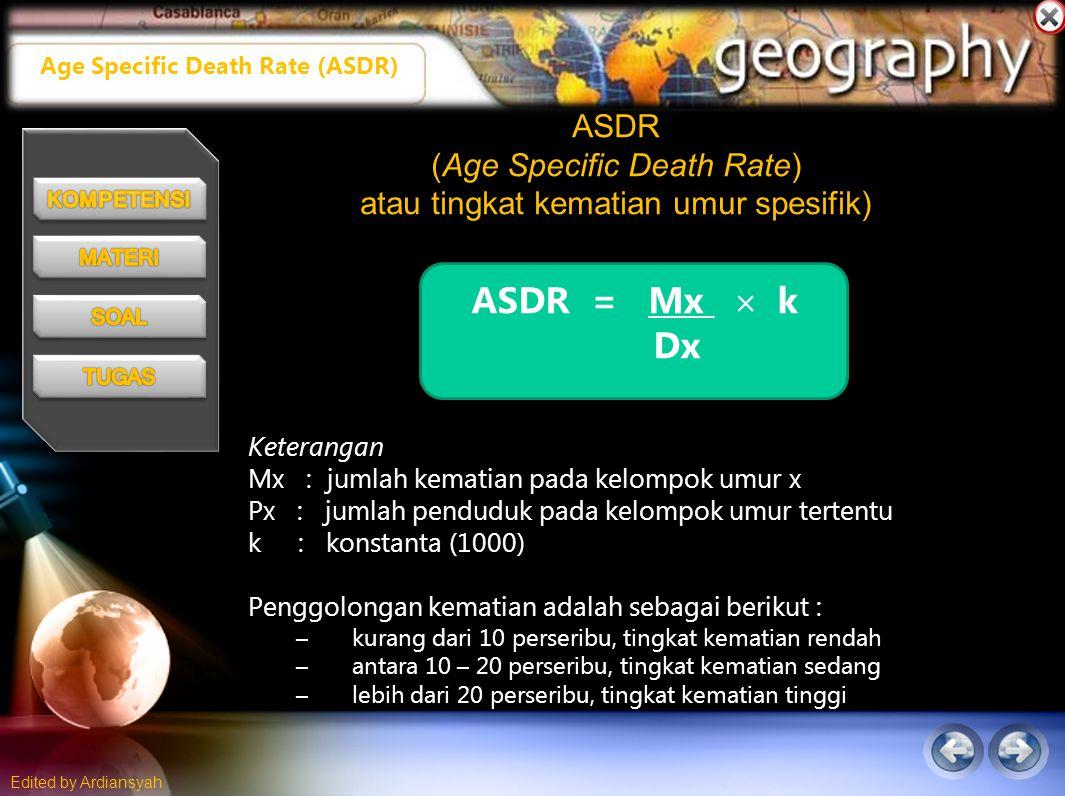 ASDR (Age Specific Death Rate) atau tingkat kematian umur spesifik)