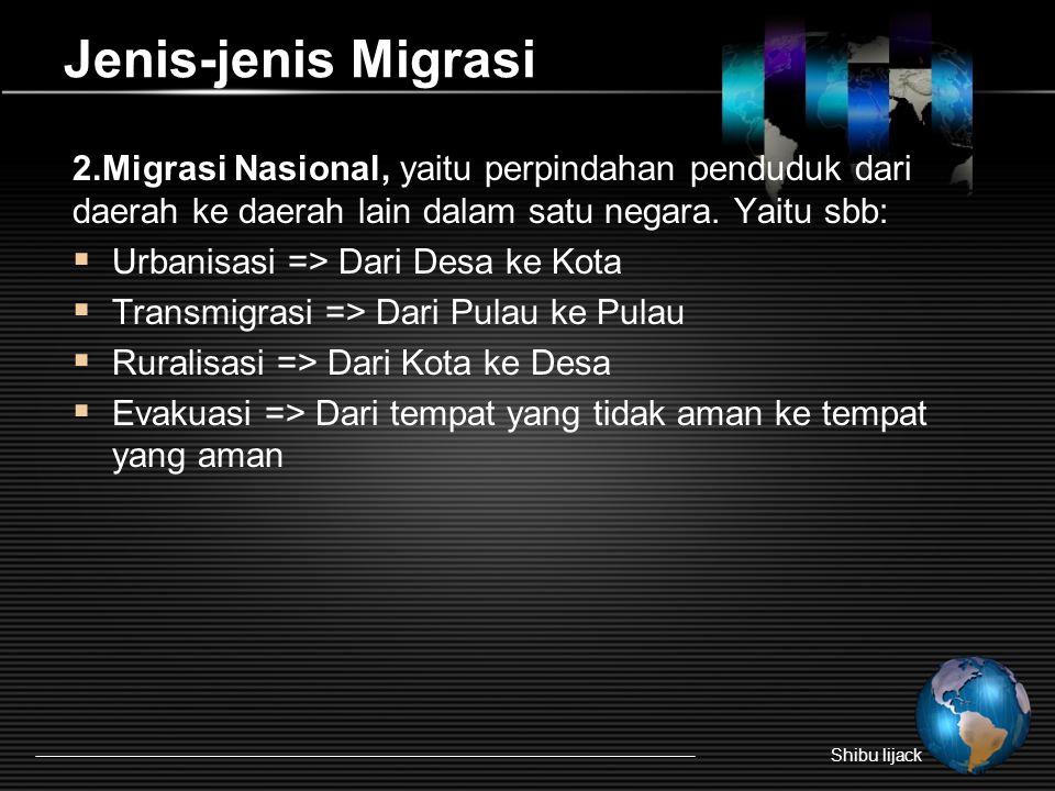 Jenis-jenis Migrasi 2.Migrasi Nasional, yaitu perpindahan penduduk dari daerah ke daerah lain dalam satu negara. Yaitu sbb:
