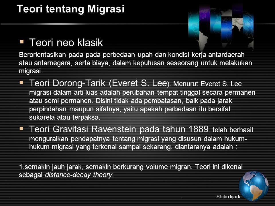 Teori tentang Migrasi Teori neo klasik