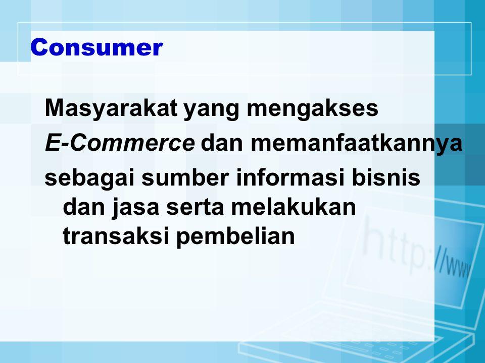 Consumer Masyarakat yang mengakses. E-Commerce dan memanfaatkannya.