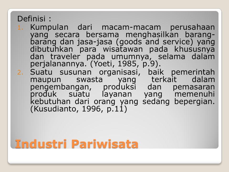 Industri Pariwisata Definisi :