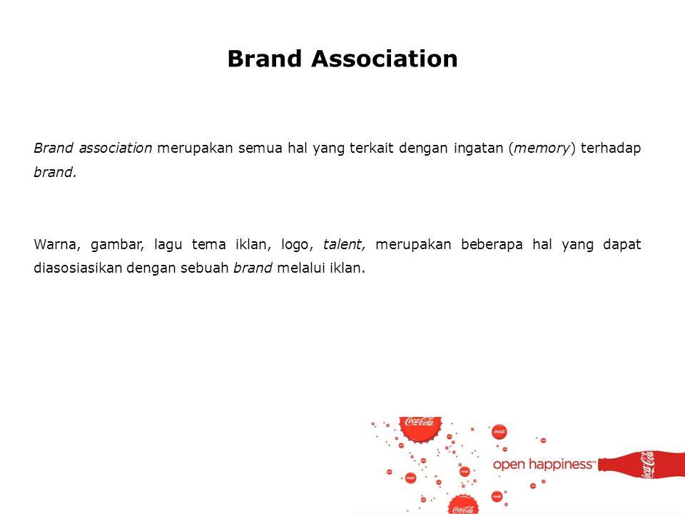 Brand Association Brand association merupakan semua hal yang terkait dengan ingatan (memory) terhadap brand.
