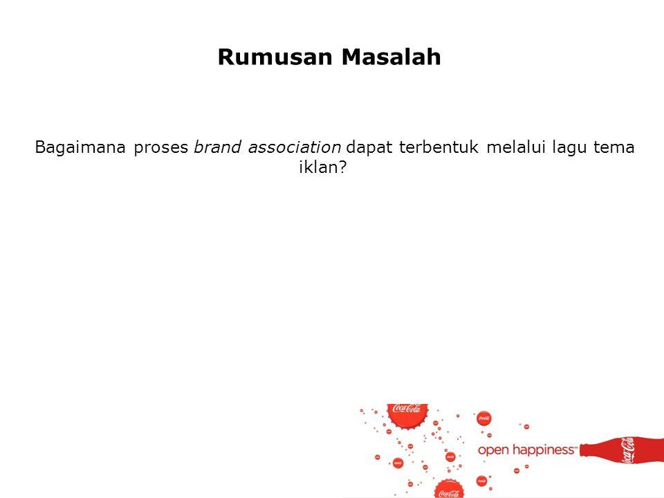 Rumusan Masalah Bagaimana proses brand association dapat terbentuk melalui lagu tema iklan