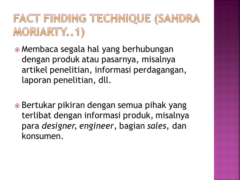 Fact Finding technique (sandra moriarty..1)