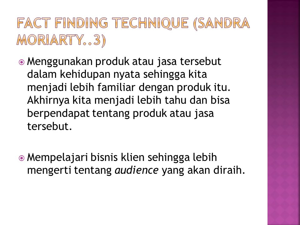 Fact Finding technique (sandra moriarty..3)