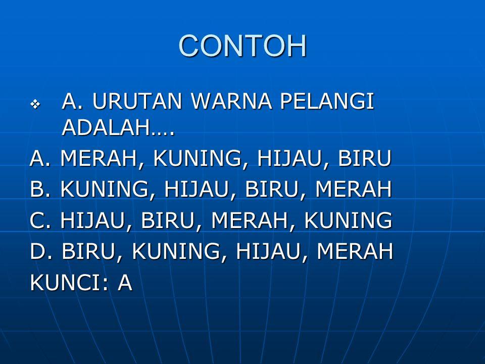 CONTOH A. URUTAN WARNA PELANGI ADALAH…. A. MERAH, KUNING, HIJAU, BIRU