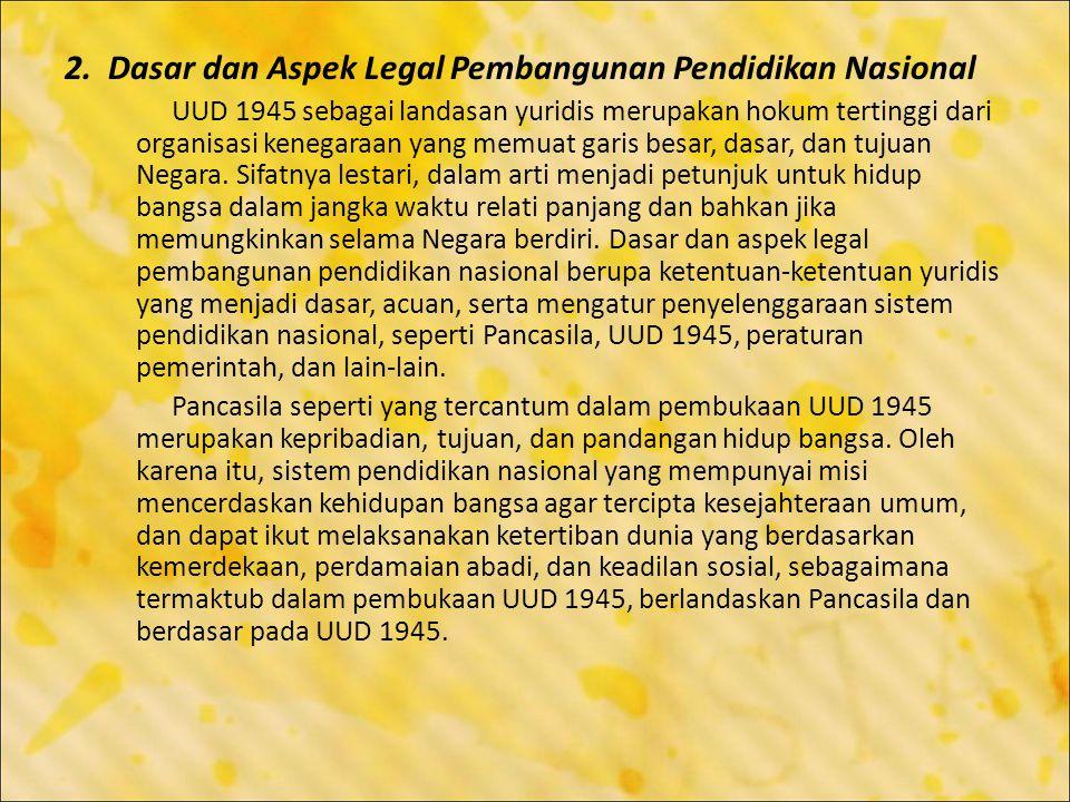 2. Dasar dan Aspek Legal Pembangunan Pendidikan Nasional
