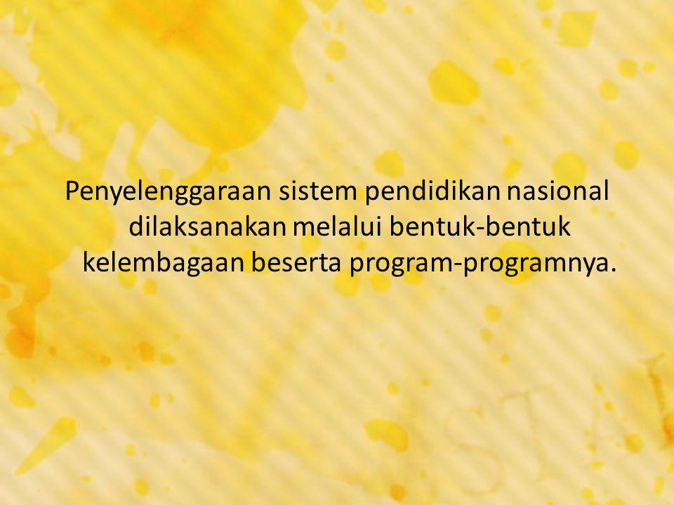 Penyelenggaraan sistem pendidikan nasional dilaksanakan melalui bentuk-bentuk kelembagaan beserta program-programnya.