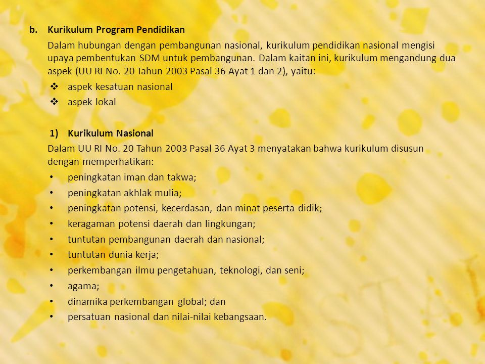Kurikulum Program Pendidikan