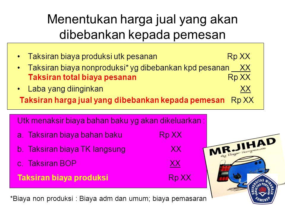 Menentukan harga jual yang akan dibebankan kepada pemesan