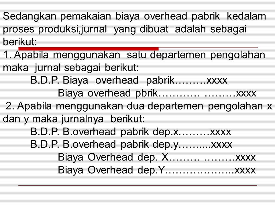Sedangkan pemakaian biaya overhead pabrik kedalam proses produksi,jurnal yang dibuat adalah sebagai berikut: