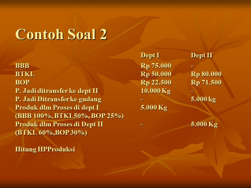 Contoh Soal 2. Dept I. Dept II BBB. Rp 75. 000. - BTKL. Rp 50. 000