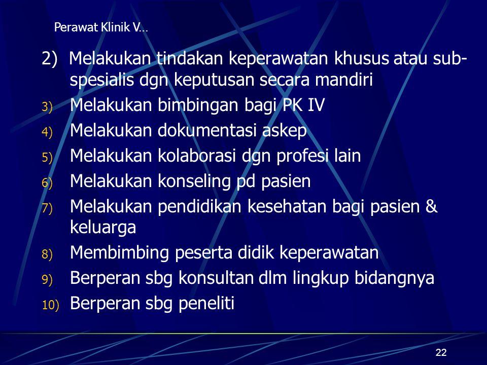 Melakukan bimbingan bagi PK IV Melakukan dokumentasi askep