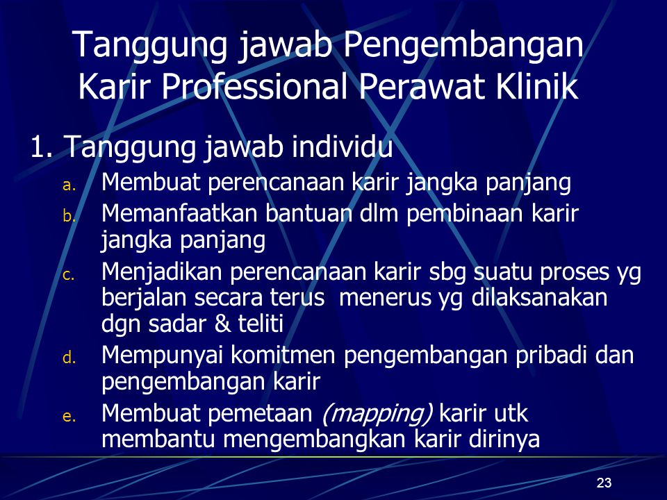 Tanggung jawab Pengembangan Karir Professional Perawat Klinik