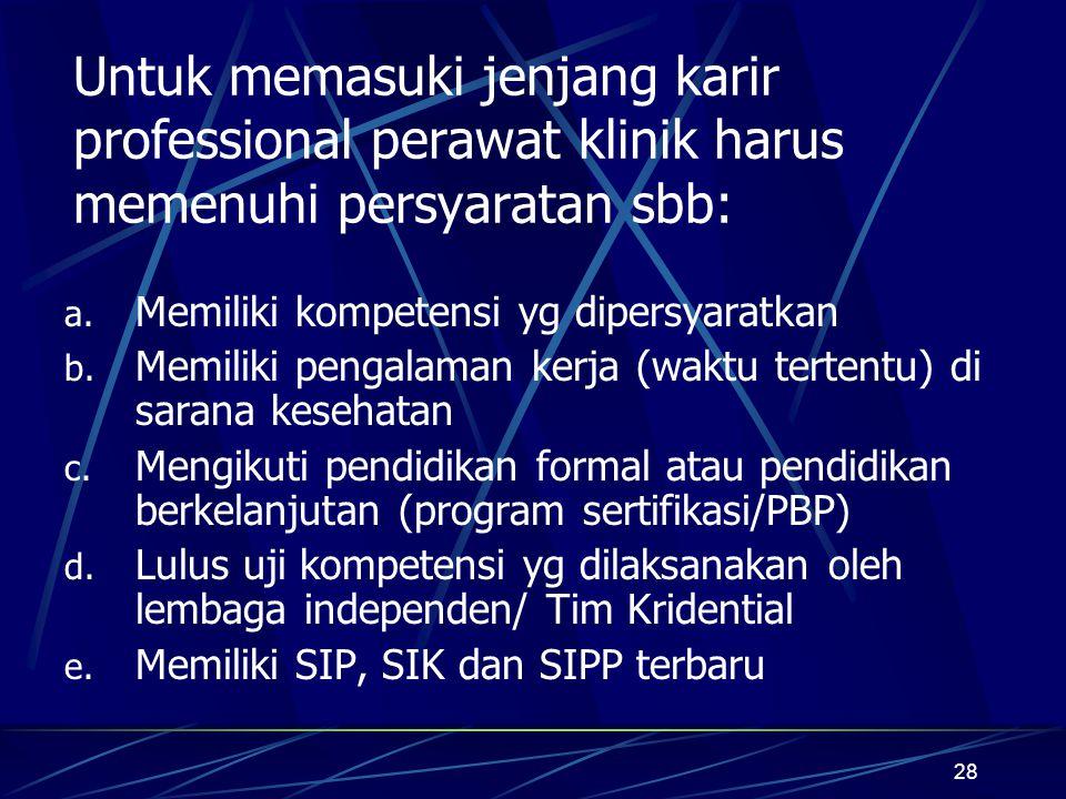 Untuk memasuki jenjang karir professional perawat klinik harus memenuhi persyaratan sbb: