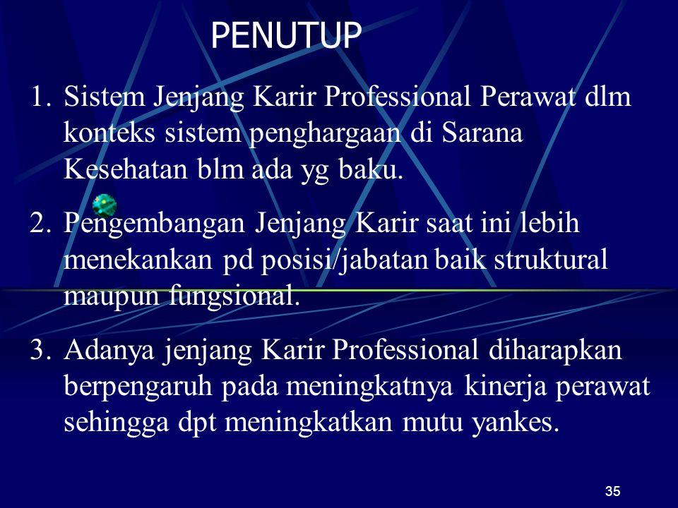 PENUTUP Sistem Jenjang Karir Professional Perawat dlm konteks sistem penghargaan di Sarana Kesehatan blm ada yg baku.