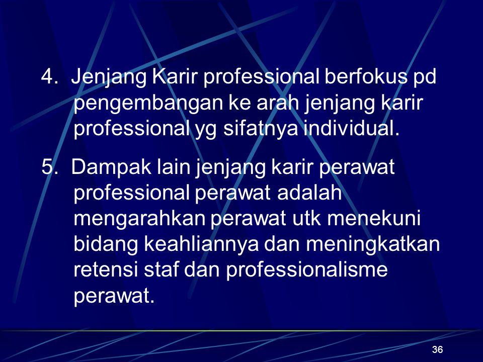 4. Jenjang Karir professional berfokus pd pengembangan ke arah jenjang karir professional yg sifatnya individual.